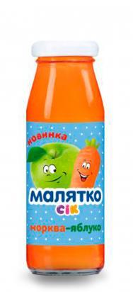 Малятко Сок морковь - яблоко (скло)